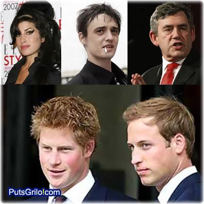 Amy Winehouse, Pete Doherty, Gordon Brown, Harry e William.
