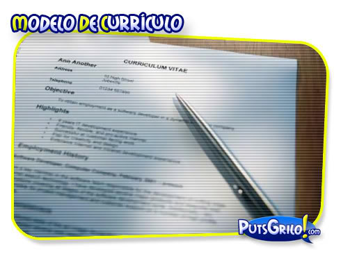Emprego: Modelo de Currículo Profissional (Curriculum Vitae)