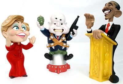 Barack Obama , Hillary Clinton e John McCain de Brinquedo