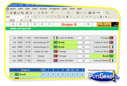 tabela da copa do mundo de 2010 excel