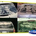 Arte na Poeira das Janelas dos Carros