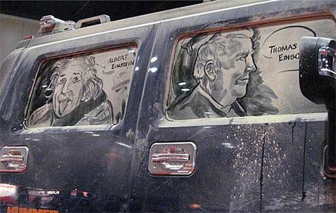 art dust 15 Arte na Poeira das Janelas dos Carros
