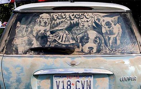 art dust 8 Arte na Poeira das Janelas dos Carros