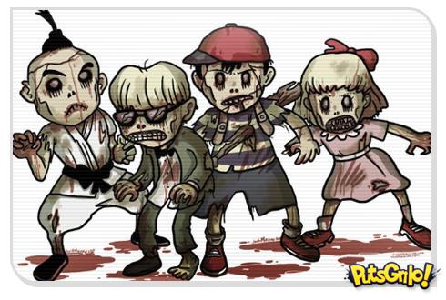 Personagens de video game como zumbis