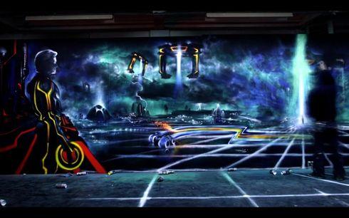 Tron legacy aerosol mural