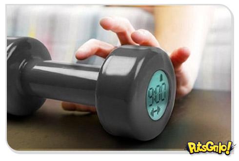 Despertador Fitness em forma de halteres