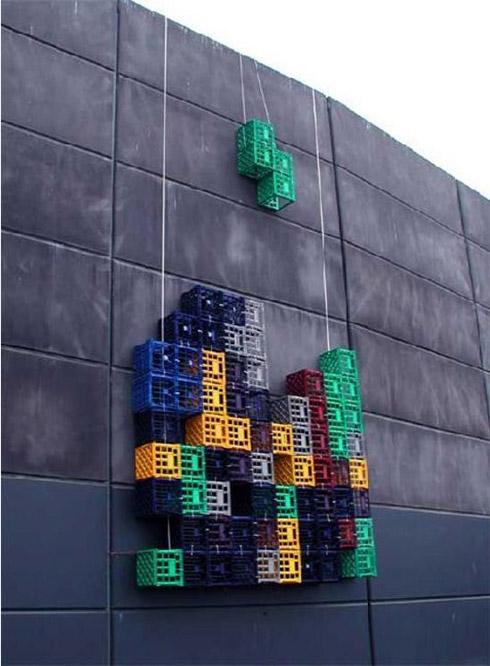Tetris na vida real feito de blocos de verdade