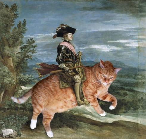 Gatos invadem pinturas clássicas