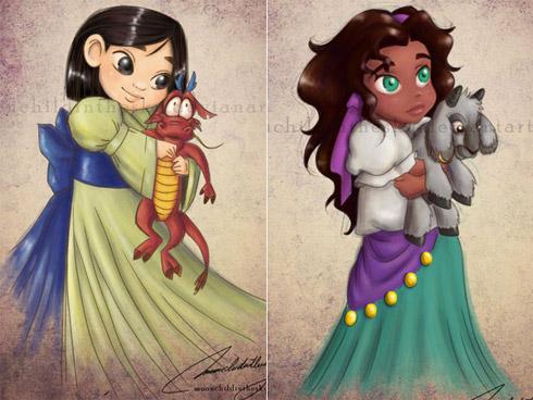 child princess 4 Princesas da Disney versão crianças