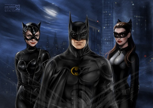 batman and catwomen by daekazu d5dpcat Ilustrações recriam cenas de grandes filmes do cinema