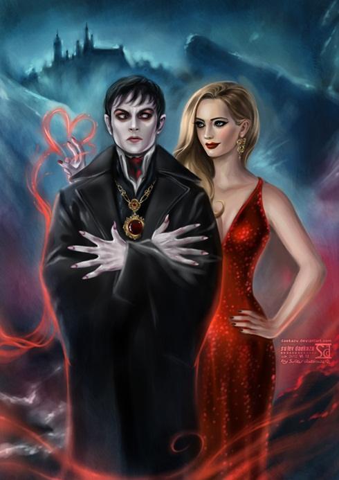 dark shadows by daekazu d53za7i Ilustrações recriam cenas de grandes filmes do cinema