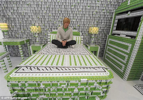 Casas feitas de material reciclado