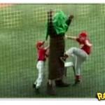 Mascote leva golpe baixo em campo